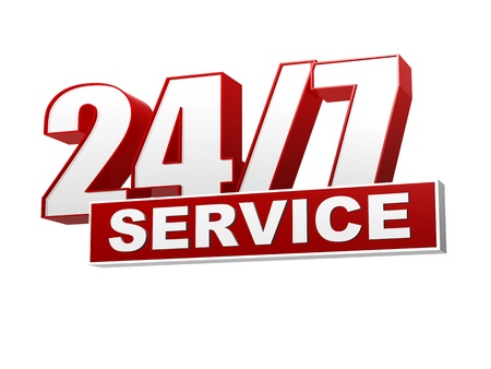 text 24/7 service 3d red white banner, letters and block, business concept Stock Photo - 18302881