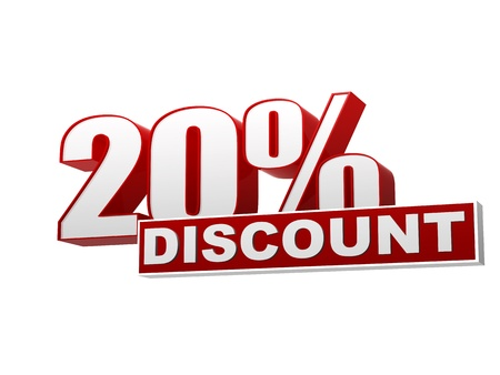 text 20 percentages discount 3d red white banner, letters and block, business concept