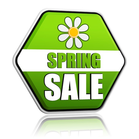 selling off: spring sale banner - 3d green hexagon label with white text and flower, business concept Stock Photo