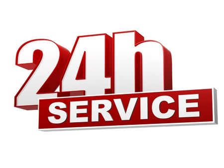 24 hour: text 24h service 3d red white banner, letters and block, business concept