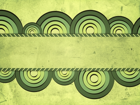 pale colours: vintage green background with drawn gradient circles and text space
