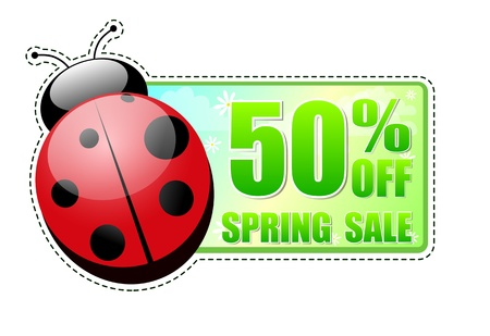 selling off: 50 percentages off spring sale banner - text in green label with red ladybird and white flowers, business concept