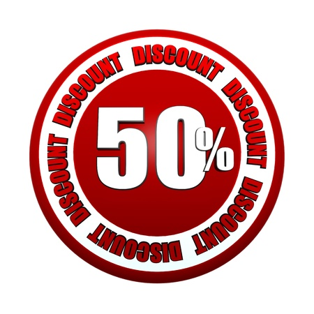selling off: 50 percentages discount - 3d red white circle label with text, business concept