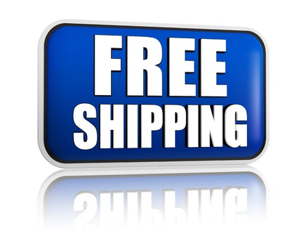 free shipping button - 3d blue banner with white text, business delivery concept Stock Photo - 18358731