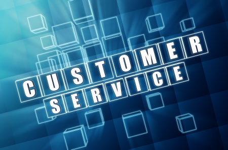 customer service - text in 3d blue glass cubes with white letters, business concept Stock Photo - 18358743