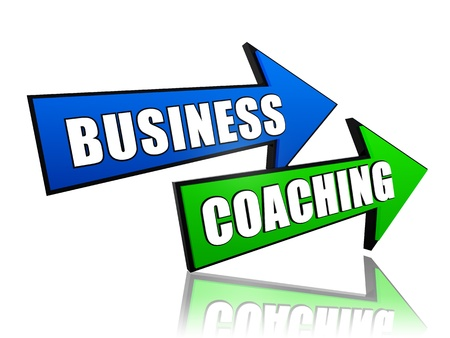 business coaching - text in 3d arrows, management develop concept photo