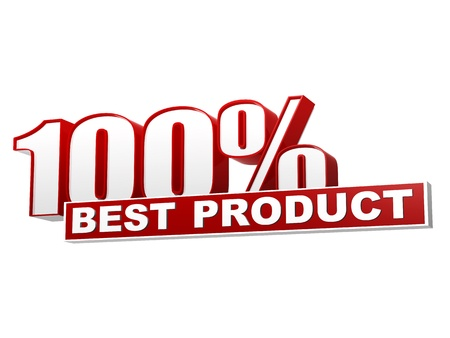 top seller: text 100 percentages best product 3d red white banner, letters and block, business concept Stock Photo