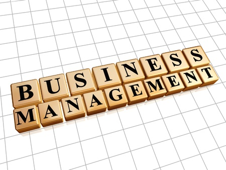 moneymaker: business management - text in 3d golden cubes with black letters, business concept Stock Photo