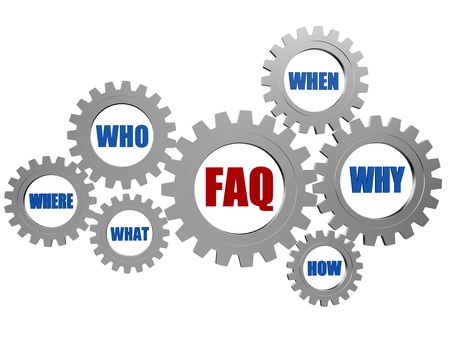red faq and blue question words in 3d silver grey gearwheels Stock Photo - 18358733