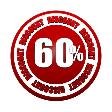 60 percentages discount - 3d red white circle label with text, business concept Stock Photo - 18394654