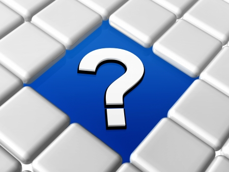 question-mark - 3d question sign over blue between grey boxes Stock Photo - 18394649