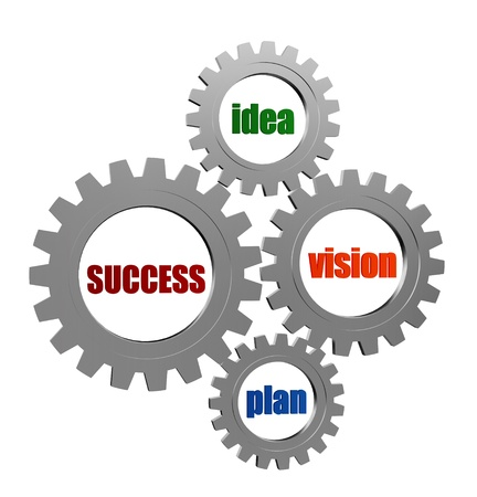 ingenious: success, idea, vision, plan - business concept words in 3d silver grey gearwheels