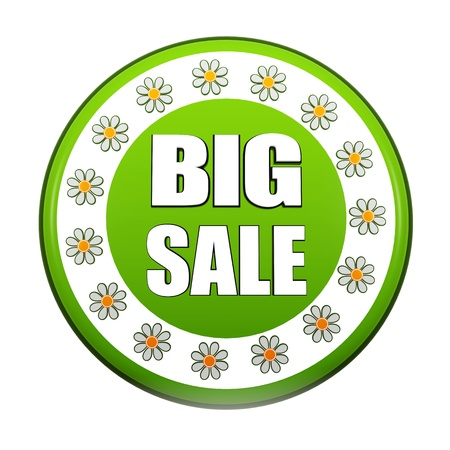 selling off: spring big sale banner - 3d green circle label with white text and flowers, business concept