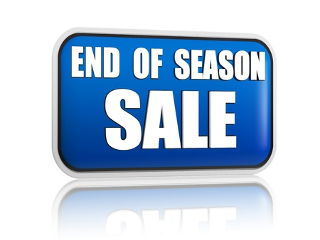 end of season sale button - 3d blue banner with white text, business concept Stock Photo - 18394636