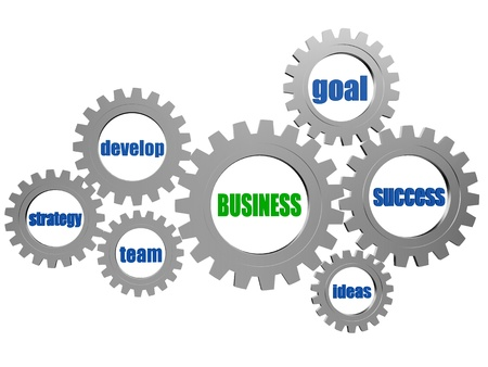 resourceful: business concept words in 3d silver grey gearwheels