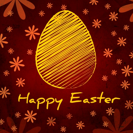 the feast of the passover: Happy Easter text and striped yellow egg, vintage background over brown old paper with daisy flowers Stock Photo