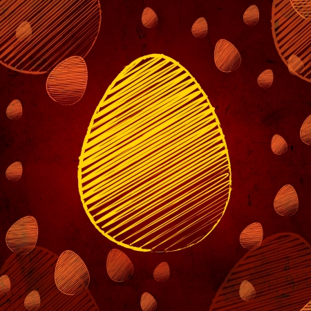 the feast of the passover: striped yellow easter egg, vintage background over brown old paper with eggs Stock Photo