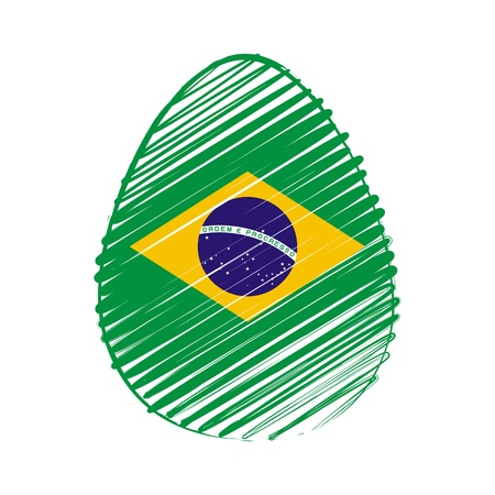 the feast of the passover: easter egg with Brazilian flag, striped drawing, holiday concept