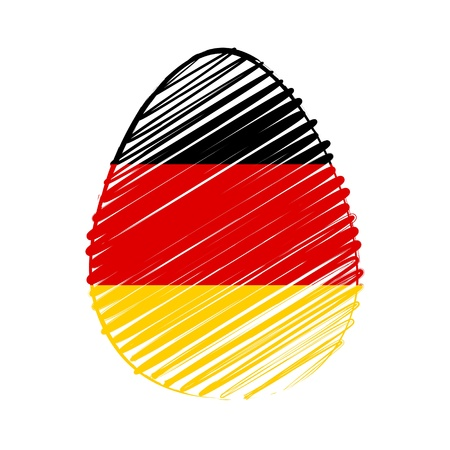 the feast of the passover: easter egg with German flag, striped drawing, holiday concept Stock Photo