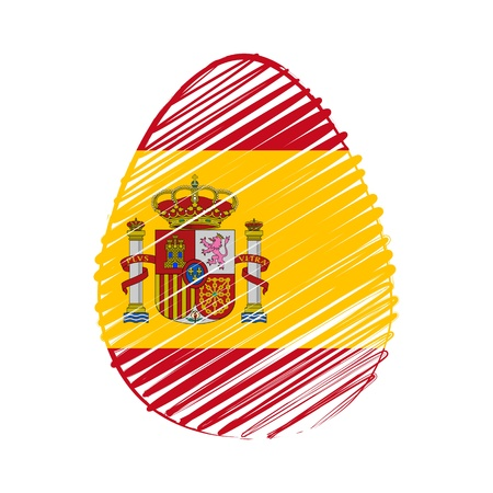 the feast of the passover: easter egg with Spanish flag, striped drawing, holiday concept