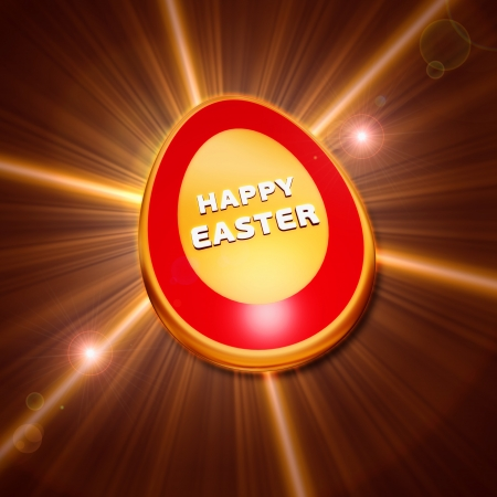 the feast of the passover: Happy Easter text over 3d shining golden egg with rays of light over glittering background, holiday concept Stock Photo