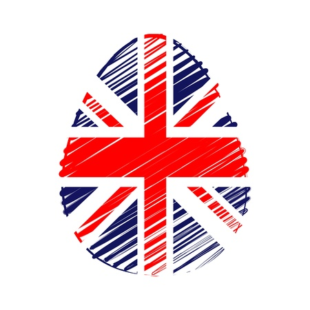 the feast of the passover: easter egg with British flag, striped drawing, holiday concept