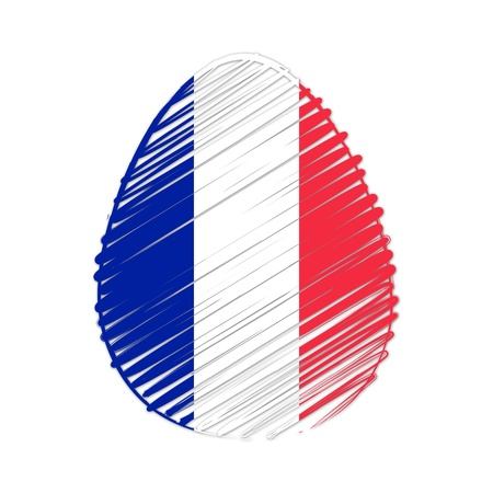 easter egg with French flag, striped drawing, holiday concept photo