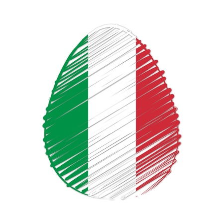 easter egg with Italian flag, striped drawing, holiday concept