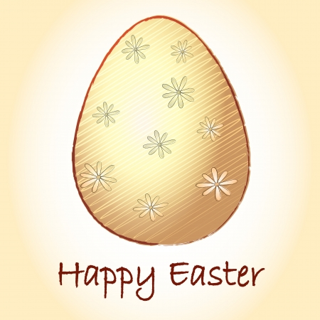 Happy Easter text and striped beige egg with spring daisy flowers photo