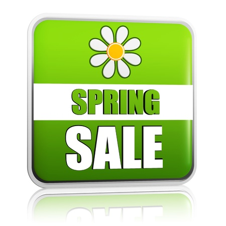 spring sale banner - 3d green label with white text and flower, business concept photo