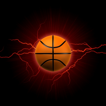 ball lightning: basketball - 3d shining basket ball with lightning and rays over dark red background