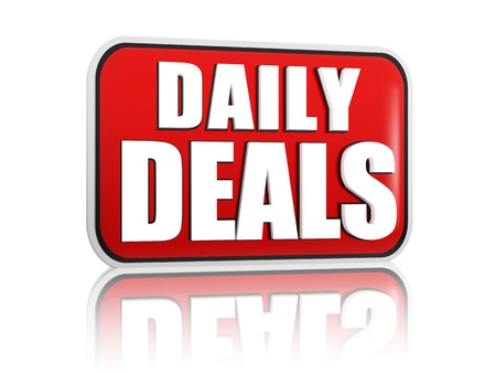 selling off: daily deals button - 3d red banner with white text, business concept