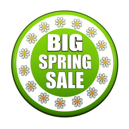 big spring sale banner - 3d green circle label with white text and flowers, business concept photo