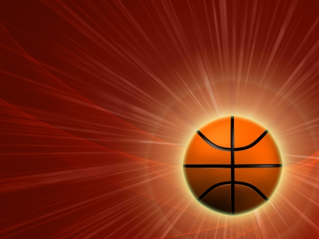 basketball - 3d shining basket ball with lights and rays over red background photo