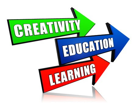 headway: creativity, education, learning - text in 3d color arrows, business concept Stock Photo