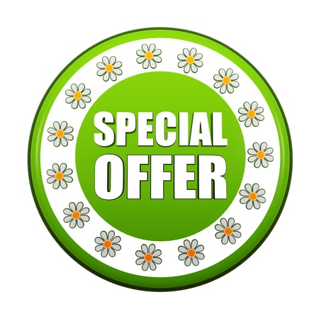 spring special offer banner - 3d green circle label with white text and flowers, business concept Stock Photo - 18446240