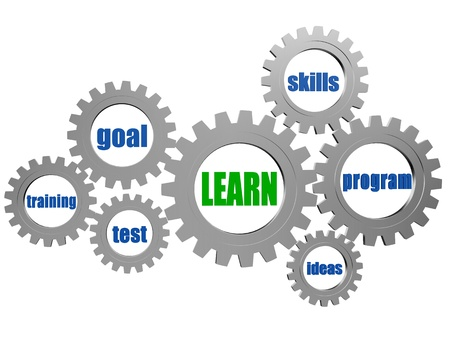 training workshop: learn and concept words in 3d silver grey gearwheels