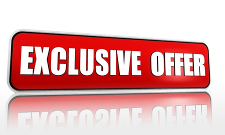 exclusive offer button - 3d red banner with white text, business concept Stock Photo - 18513534