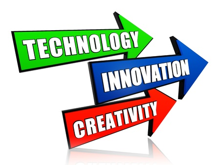 new development: technology, innovation, creativity - text in 3d color arrows, business concept Stock Photo