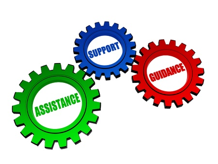 quality questions: assistance, support, guidance - business concept words in 3d color gearwheels Stock Photo