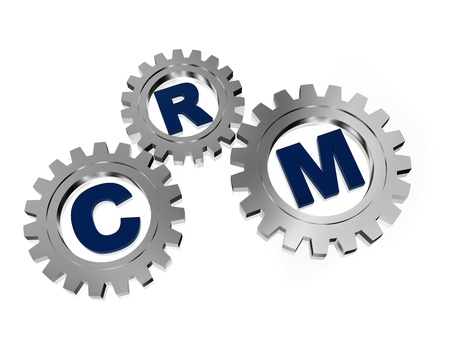 pursue: CRM, customer relationship management - letters in 3d silver grey gearwheels, business concept