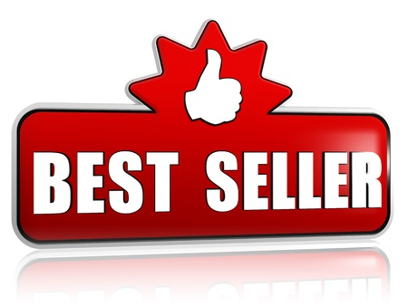 top seller: best seller and thumb up sign - text and symbol in 3d red banner with star, business concept