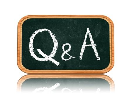 QA - questions et réponses sur le texte de la craie tableau noir isolé 3d bannière bois