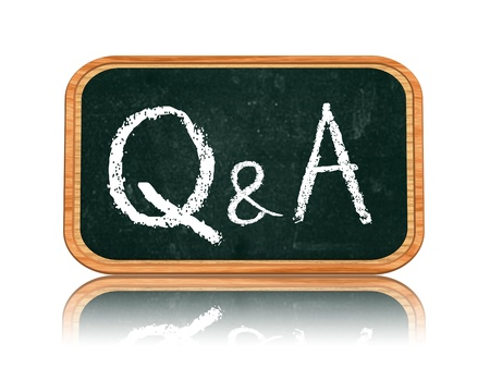 Q A - questions and answers chalk text on 3d isolated wooden blackboard banner Standard-Bild