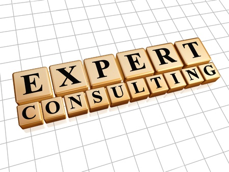 expert consulting - text in 3d golden cubes with black letters, business concept