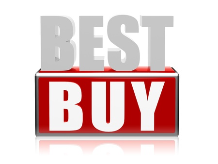 best seller: best buy text - 3d red, white, grey letters and block, business concept