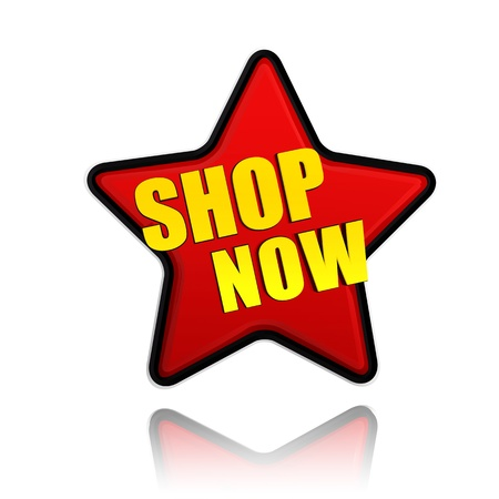shop button: shop now banner - text in 3d red star label with yellow letters, business concept