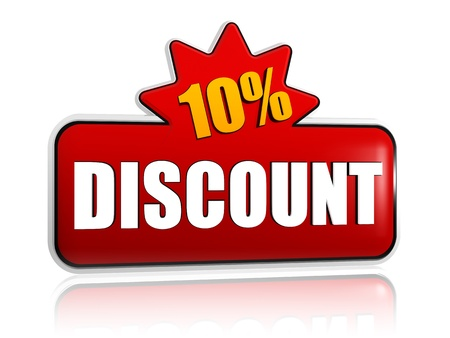 selling off: 10 percentages discount - text in 3d red banner with star, business concept