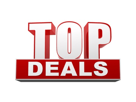 selling off: top deals text - 3d red and white letters and block, business concept Stock Photo