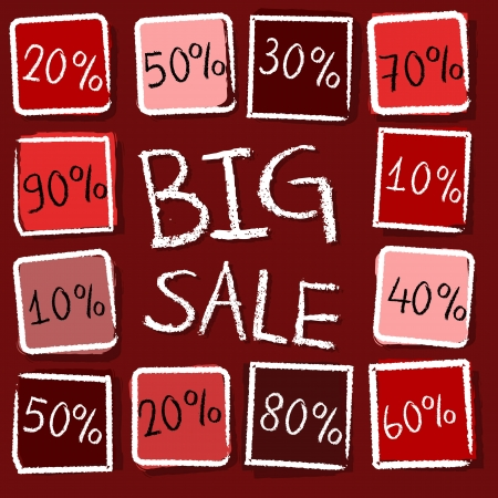clearance sale: big sale and different percentages - retro style red label with text and squares, business concept